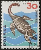 POLAND - CIRCA 1965: a stamp printed in Poland shows image of Cryptocleidus, a Pleiosaur from the Upper Jurassic. Poland, circa 1965