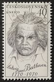 CZECHOSLOVAKIA - CIRCA 1970: a stamp printed in Czechoslovakia celebrates the second centenary of Ludwig Van Beethoven birth's, the famous German composer. Czechoslovakia, circa 1970