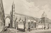 Antique illustration of Palermo Cathedral, Italy. The original engraving, was created by E. Romargue and may be dated to the half of 19th c.
