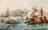 Antique illustration shows Palermo bombing in 1860 by Bourbon's fleet. The original illustration was published by Claudio Perrin in Turin and may be dated to the second half of 19th c.