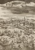 Old engraving shows image of Palermo Battleship between French and Spanish-Dutch fleets. The origina