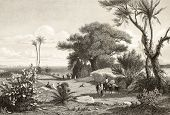 Old engraving shows image of  Marsala surroundings, Italy. Original drawn by Henri De Chacaton, engr