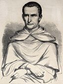 Antique illustration of Jean-Baptiste Henri Lacordaire, French ecclesiastic and political activist.