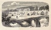 Antique illustration shows  Abbas Mirza's castle, in Tabriz (Persia). Original, engraved on design by E. Duhousset, was published on