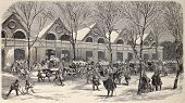 Antique engraved illustration shows ice workers, carts and storehouse in Paris. Original, from drawing of Provost, was published on â??L'Illustration, Journal Universelâ?, Paris, 1860
