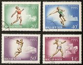HUNGARY - CIRCA 1966: four stamps printed in Hungary celebrates European Athletics Championship show