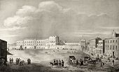 Old illustration of Royal Palace Place, in Palermo, Italy. The original engraving, created by Dura,