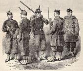 Antik Gravur Darstellung eines Projekts für neue Uniformen der französischen Armee im 19 c. original,