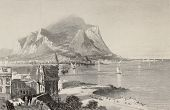 Antique illustration of Porta Felice and Palermo bay with Mount Pellegrino in background, Italy. Eng