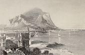Постер, плакат: Античные иллюстрации Porta Felice и Палермо залива с горы Пеллегрино в фоновом режиме Италия ENG