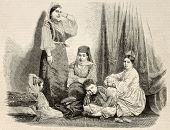 Antique illustration of a jewess family in Algiers. Original, from drawing of Janet-Lange, on photo