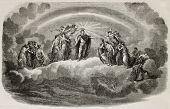 Old allegoric illustration of Napoleon III glorification for Italian war victory in 1859. Original,