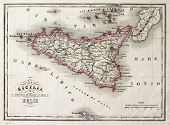 An old map of Sicily and little islands around it. The original map was published in Italy in 1860, in Marmocchi Atlas and was created by G. Bonatti