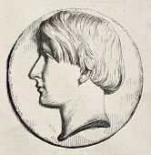 Antique illustration shows a portrait medal of Nino Bixio, Italian unification fighter and politician. Original, by unknown author, was published on L'Illustration, Journal Universel, Paris, 1860