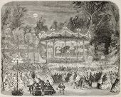 Antique illustration of concert pavilion in Champs Elysées, Paris. Original, from drawing of Provos
