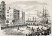Antique illustration of Russian dowager Empress landing in Marseilles. Original, from a design of Durand, after sketch of Crapelet, was published on L'Illustration, Journal Universel, Paris, 1860