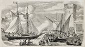 Alexandre Dumas leaving Marseilles aboard the yacht Montecristo. Original, from drawing of Rouargue,