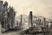 Antique illustration of Pompei forum, southern Italy. Original, created by Wolfensberger and E. Radclyffe, was published in Florence, Italy, 1842, Luigi Bardi ed.