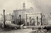 Antique illustration of Roman Forum, Italy. Original, created by W. H. Bartlett and A. Willmore, was