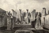 Antique illustration of Pompeii roman house, southern Italy. Original, created by Wolfensberger and