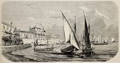 Antique illustration of boots moored at port of Catania. Original, from drawing of Guesdon, was publ