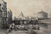 Old illustration of Tevere river in Rome, with Castel Sant'Angelo and St. Peter's dome in background
