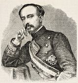 Engraved portrait of General Cervino, commanding officer of Spanish troops in Africa. Original, from drawing of Hofer, published on L'Illustration, Journal Universel, Paris, 1860