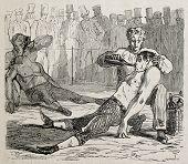 Antique humorous illustration of two boxers knocked out at the end of match. Original, from drawing