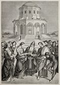 Antique illustration of Marriage of the Virgin, the famous Raphael's picture, engraved by A. Jourdai