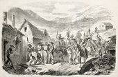 Attack to silver mines in Mexico, by General Miramon's troops. Original, from drawing of Janet-Lange