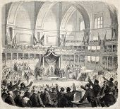 The new Italian Parliament opening by Victor Emmanuel. Original, from drawing of Janet-Lange after sketch of Giacomelli, published on L'Illustration, Journal Universel, Paris, 1860