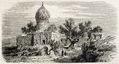 Antique illustration of Iman Zade Kassem, near Tehran, Persia. Original, after drawing of Duhousset,