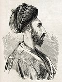 Antique illustration shows image of Persian man in Isfahan. Original illustration, engraved on desig