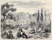 View of Santa Maria del Fiore Basilica, in Florence, from Boboli gardens, Italy. From drawing of Rouargue, after sketch of A. Blaschnik, published on L'Illustration, Journal Universel, Paris, 1860