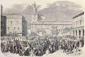 Antique illustration of Piedmontese troops entering il Bologna, Italy. Original, after drawings of T