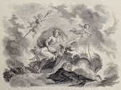 Old illustration of the rape of Proserpina by Pluto. Engraved by Chossard. 1785. Published on Voyage
