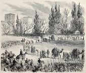 Sultan's camel caravan departing from Istanbul to Mecca and Medina. Original, from drawing of Blanch