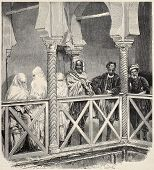 pic of algiers  - Antique illustration of men and women in moresque house interior in Algiers - JPG