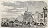Old illustration of Justice Palace with holy Chapel in Boulevard de Sebastopol, Paris, Ile de la Cite. Original, from drawing of Fichot,published on L'Illustration, Journal Universel, Paris, 1860
