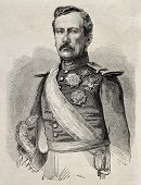 Old engraved portrait of General Rafael Etchague, Spanish army Division General. Original, from draw