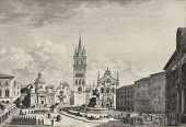 View of Messina Cathedral, then destroyed by earthquake. By Berthault and De Ghendt, published on Vo