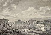 View of the square of San Giovanni di Malta church, Messina, Italy. By Desprez and Berthault, publ. on Voyage Pittoresque de Naples et de Sicilie,  J. C. R. de Saint Non, Imp. de Clousier, Paris, 1786