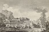 View of port of Palermo, Italy. By Chatelet and Paris, published on Voyage Pittoresque de Naples et
