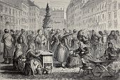 Old illustration of Brno market, Moravia, nowadays Czech Republic. Original, created by Lallemand, w