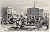 Antique illustration of a street in Salt Lake City, Utah. Original, created by Cosson-Smeeton, was p