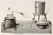Old illustration of water distillation apparatus. Original, created by Javandier, was published on L
