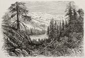 Old view of Sierra Nevada mountains, USA. Created by Provost, published on L'Illustration, Journal U