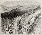 Antique illustration of rugged mountains along Union Pacific railroad, USA. Original, by Lancelot, was published on L'Illustration, Journal Universel, Paris, 1868