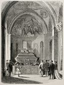Old illustration of Daniele Mann's grave in St. Mark's basilica, venice, Italy. Original, created by