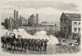 Old illustration of  riot repression at Epine cool mine, Belgium. Original, created by Blanchard and